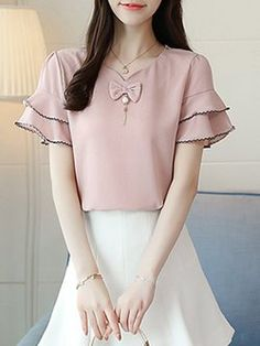 V-Neck Frill Sleeve Solid Beaded Chiffon Blouse Dress Neck Designs, Blouse Designs, Fashion Outfits, Fashion Tips, Fashion Design, Fashion Styles, Latest Fashion, Weird Fashion, Korea Fashion