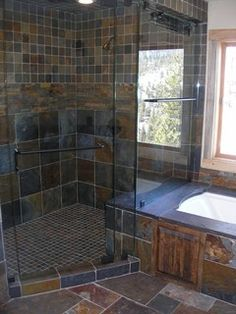 Even With This Much Natural Light All Slate Tile Shower Is Just Too Dark For