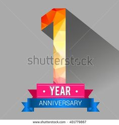 1 Years Anniversary celebration logo, 1st Anniversary celebration logo with colorful polygonal. - stock vector