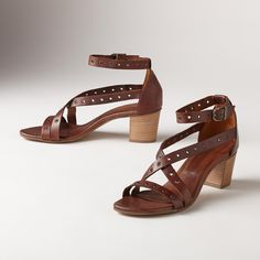 """ROSIE SANDALS�--�Spirited rivets and a stacked heel add no-nonsense flair to these feminine sandals with elegant ankle straps. Leather. Italy. Exclusive. Euro whole sizes 36 to 41. 36 (US 6.75), 37 (US 7.5), 38 (US 8.25), 39 (US 9), 40 (US 9.75), 41 (US 10.5). 2"""" heel."""