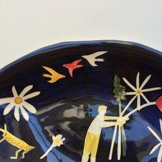 Polly Fern. Birds in flight - Details of the flower picker plate.
