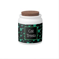 Shop Black & Green Kitty Pattern Candy Jar created by thepawkinglot. Custom Candy, Creature Comforts, Cat Treats, Having A Blast, Hard Candy, Candy Jars, Cute Pattern, Pet Shop, White Porcelain