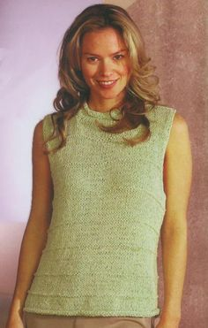 Roll Neck Sleeveless Shell Knitting Pattern
