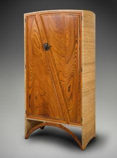 "Silk Chinese Piece200668"" x 36"" x 20""zelkova, bamboo, silk with epoxy resin, damascus steel & bronze pulls"
