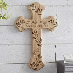 Bestow warm blessings to all who enter your home with the Family Vine Personalized Wood Cross. Engraved with any 2 lines of personalized text between the vine design. Wood Burning Crafts, Wood Burning Patterns, Wood Burning Art, Wood Crafts, Wooden Cross Crafts, Wooden Crosses, Crosses Decor, Wall Crosses, Painted Crosses