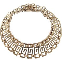 "Vintage 18k Gold Greek Key Bracelet ~ 6 3/4"" Key Bracelet, Bracelets, Art Nouveau, Art Deco, Greek Key, Statement Jewelry, 18k Gold, Jewelry Design, Vintage Fashion"
