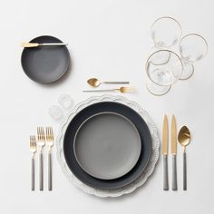 RENT: Signature Collection Chargers + Heath Ceramics in Opaque White + Axel Flatware in Matte Gold/Silver + Chloe Gold Rimmed Stemware + Antique Crystal Salt Cellars SHOP: Indigo, Heath Ceramics, Gold Wood, White Enamel, Flatware, Taupe, Copper, Salt Cellars, Rose Gold