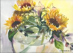Sunflower Still Life Original Watercolor Painting, Yellow Flowers in a Vase. $75.00, via Etsy.