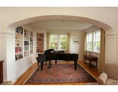 Piano room in a seaside home