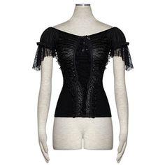 Black Lace Cap Sleeve Off the Shoulder Goth Fashion Dress Top Women SKU-11409420