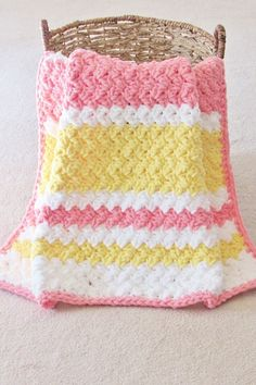 Try this easy and quick striped afghan free crochet pattern. This fast baby blanket will only take few hours and is great for a last minute gift. The textured stitch pattern is simple and perfect for beginners. Crochet Shell Pattern, Crochet Baby Blanket Free Pattern, Granny Square Crochet Pattern, Free Crochet, Crochet Blankets, Baby Blankets, Kids Crochet, Crotchet Patterns, Quick Crochet