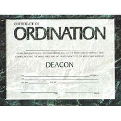 certificate of ordination deacon 4 colors pack of 6 by warner press