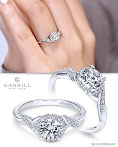 Inspired by class, this white gold diamond ring has a small braided effect that exudes grace and radiance. Braided Engagement Rings, Engagement Sets, Halo Diamond Engagement Ring, Anniversary Bands, White Gold Rings, Gabriel, Fashion Jewelry, Metals, Wedding Rings