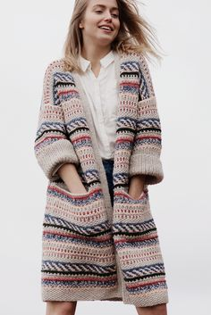 Free Knitting Pattern for a Color Work Cardigan for Women. Free Knitting Pattern for a Color Work Cardigan for Women. , Free Knitting Pattern for a Women& Color Work Cardigan. Gilet Crochet, Crochet Cardigan, Crochet Jacket, Cardigan Pattern, Jacket Pattern, Cardigans For Women, Jackets For Women, Knit Jacket, Sweater Coats
