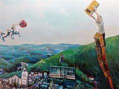 Houve, em tempos uma terra que se chamou Cortiçada e que agora é Proença-a-Nova. Aqui se conta uma lenda melindrosa de um povo sonhador. Painting, Folk, Geography, Tower, Painting Art, Paintings, Painted Canvas
