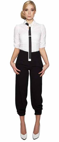 Fashion is culotte pant and necktie