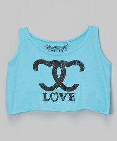 Look at this Turquoise 'Love' Crop Tank on #zulily today!