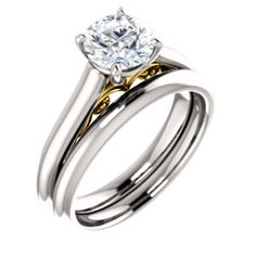 14kt White & Yellow 6.5mm Round Engagement Ring Mounting