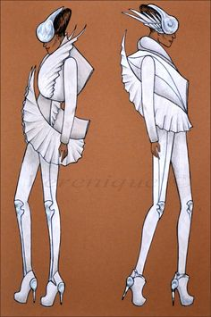 White avian collection by Verenique on DeviantArt Fashion Model Sketch, Fashion Design Sketchbook, Fashion Sketches, Dress Sketches, Art Sketches, Drag Queen Outfits, Croquis Fashion, Illustration Mode, Fashion Forecasting