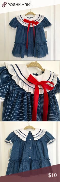 Vintage Blue Dress, Baby Girl, 12M Vintage Blue Dress with White Swiss dots and white collar with red bow detail. Circa late early 1990s. Bryan Dresses Casual