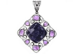 Aztec Style(Tm) Mexican Purple Opal With Oval And Trillion Cabochon African Amethyst Silver Pendant