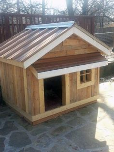 Large Dog House Ideas With All Wood Construction And Metal Roof
