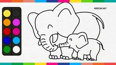 Elephant Coloring Pages - Drawing Baby Elephant For Kids | Abidzar Art