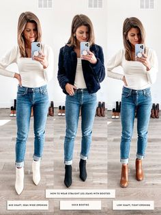 Leg Jeans - - Talking about how to wear ankle boots and giving you oodles of outfit inspiration from wearing ankle booties with leggings to cuffed jeans and more! Leopard Ankle Boots, Ankle Boots With Jeans, How To Wear Ankle Boots, Fringe Ankle Boots, Brown Ankle Boots Outfit, Cropped Skinny Jeans, Cuffed Jeans, Trendy Outfits, Fall Outfits