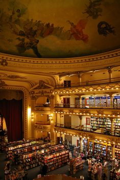El Ateneo Bookstore, Buenos Aires, Argentina This is seriously the coolest bookstore I've ever been to. Oh The Places You'll Go, Great Places, Places To Travel, Beautiful Places, Places To Visit, Libreria El Ateneo, The Last Bookstore, Beautiful Library, Equador