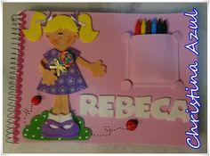 """Christina Azul: Caderno de desenho decorado com EVA """"meninas e menino"""""""