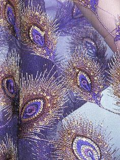 Purple peacock Sequin / Sequined jFabric for Luxury Gown by Yards
