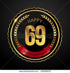 69 golden anniversary logo with red ribbon, low poly design number - stock vector