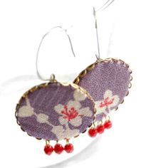 Earrings in Lilac and Red with Japanese Fabric  by vadjutka, $25.00