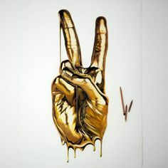 Peace - Gold hand. Ink and Pencil Realistic Drawings. Click the image, for more art from Alessandro Paglia.