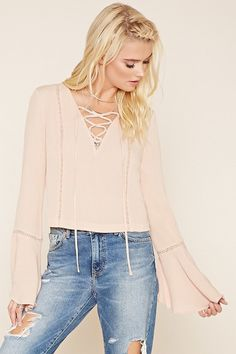 438901c23f Forever 21 Lace-Up Bell Sleeve Top ...