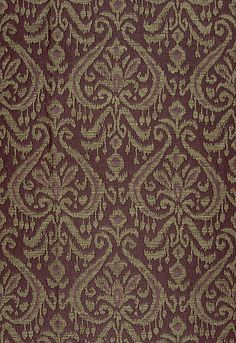 "Schumacher: Maroc Linen Damask Color: Aubergine Fabric SKU - 65631 Repeat - Half Drop Width - 55"" Horizontal Repeat - 6.875"" Vertical Repeat - 25"" Abrasion Results - Martindale 9,000 Fabric Content - 52% Jute / 22% Linen / 16% Cotton / 10% Viscose Linen fabric, possibly for a pillow.........."