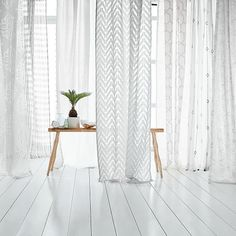 Mid-Century Sheer Plaid Curtain   west elm