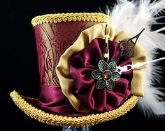 Burgundy and Gold Steampunk Mini Top Hat Fascinator, Alice in Wonderland, Mad Hatter Tea Party