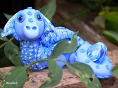 Bluebell the dragon handcrafted from polymer clay by Lorraine @ soulsecrets
