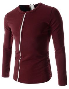 Mens Slim Fit Stretchy Cross Line Point Round Neck Long Sleeve Tshirts | Amazon.com