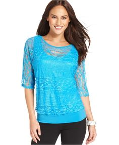 Style Top, Short-Sleeve Lace Banded Layered-Look - Tops - Women - Macys