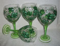 Painted Wine Glasses St Patrick's Day by SharonsCustomArtwork