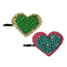 Kantha Heart Hair Pin, assorted patterns and colors (WorldFinds)