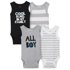 Shop for baby boy onesies for your baby. Gerber Childrenswear is the original trusted Baby Boy Onesies brand bodysuit manufacturer. Keep baby comfortable, playing or sleeping, with easy-to-dress clothing and accessories from Gerber! Boy Onesie, Onesies, Baby Boys, Toddler Boys, Wide Stripes, Summer Boy, Ribbed Fabric, Get Dressed, Baby Boy Outfits