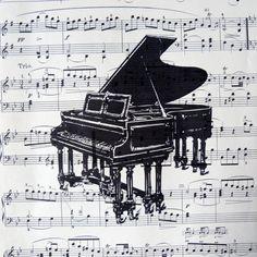 upcycled vintage sheet music print