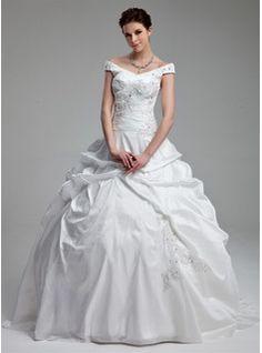 Ball-Gown Off-the-Shoulder Sweep Train Taffeta Wedding Dress With Ruffle Beadwork Sequins (002012899)