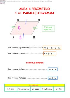 07. Area e perimetro di un parallelogramma Algebra, My Job, Montessori, Study, Science, Education, School, Trigonometry, Solid Geometry