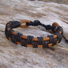 Tan Leather and Black Hemp Bracelet