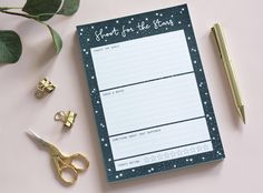 Shoot for the stars note pad, list pad, star gift, star chart, constellation gift, planner pad