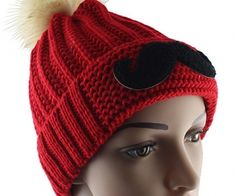 Red Twisted Ball Moustache Knit Hat. spenditonthis.com